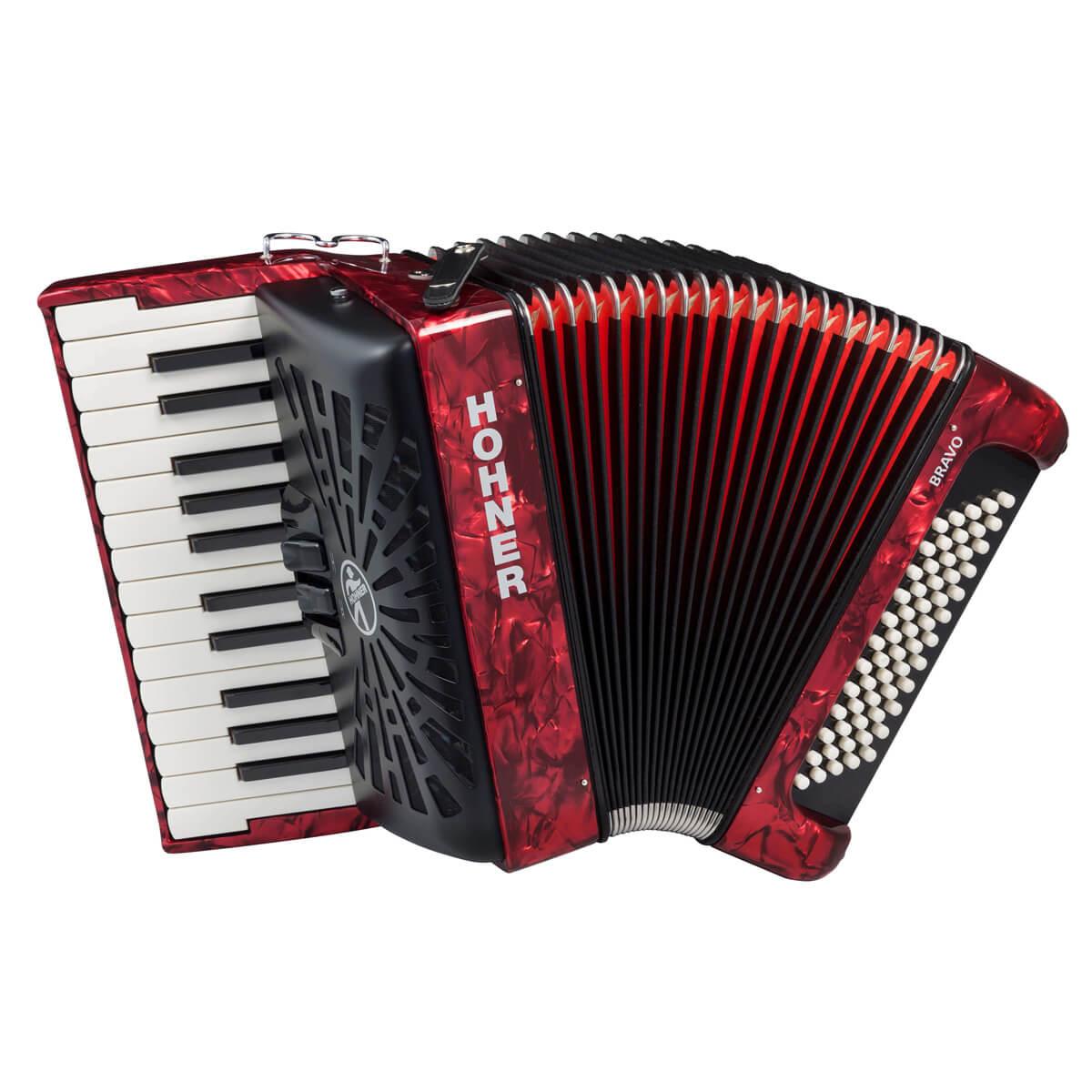 Hohner Bravo II 60 piano-harmonika rød