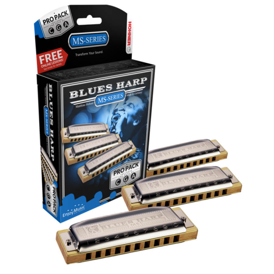Image of   Hohner MS Blues Harp Pack mundharmonika sæt (C + G + A)