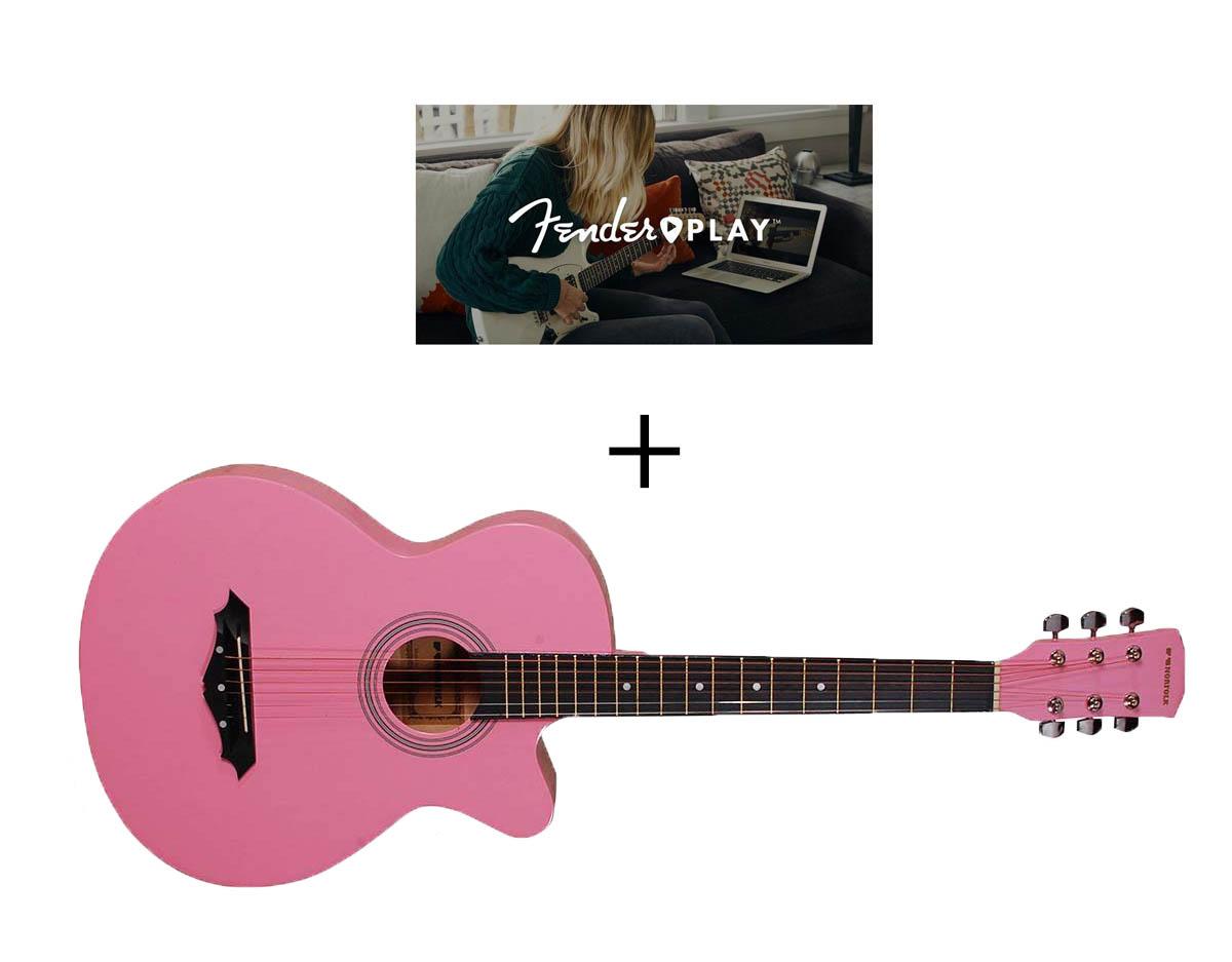 Norfolk STARTER PK western-guitar pink + Guitarundervisning