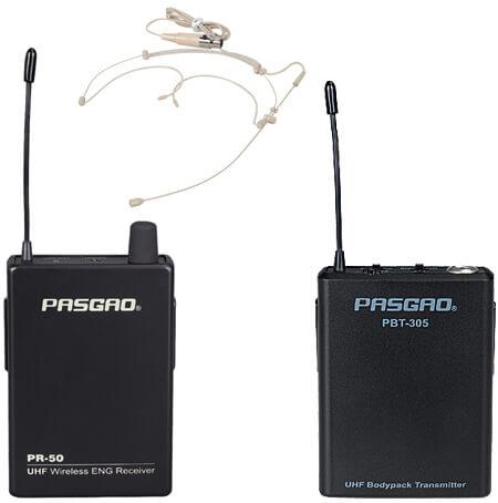 Pasgao PR-50R-PBT305-PH50 trådløsttyndtheadset-mikrofon-sæt