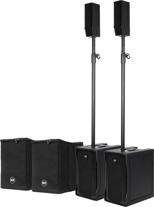Pakke med 2 x RCF EVOX 5 aktivt højttalersæt og 2 x tasker