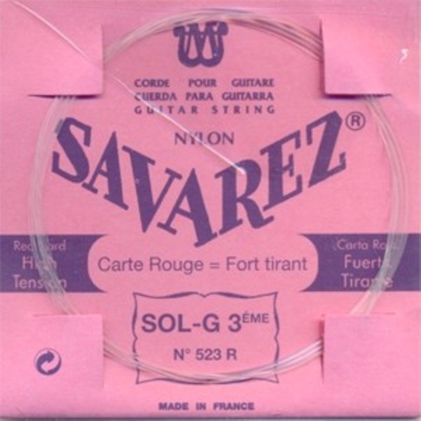 Image of   Savarez 523R G3 løs spansk guitar-streng, rød
