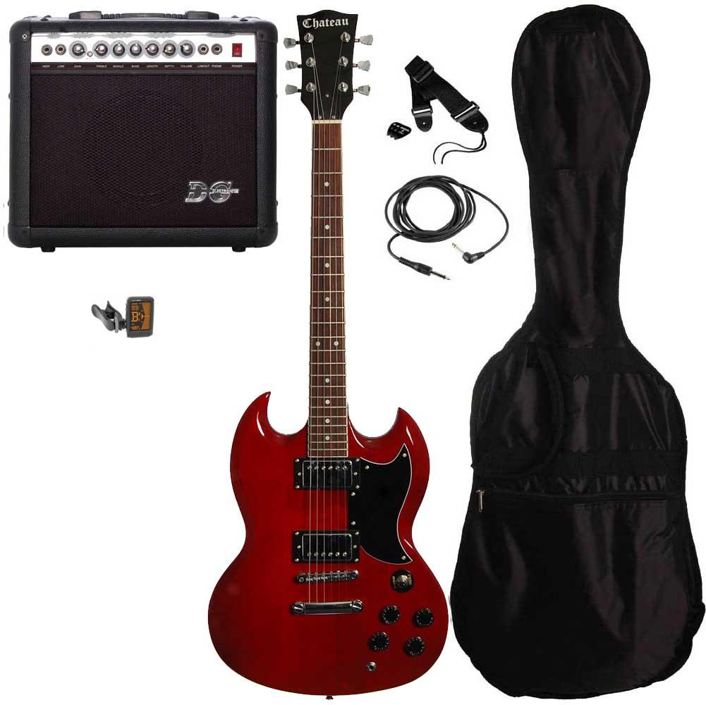 Chateau C08-SG1 el-guitar, rød, PAKKE 2