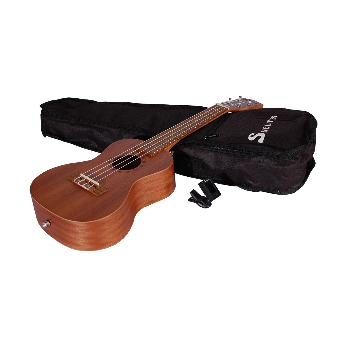 Shelter UK3C concert ukulele, pakkeløsning