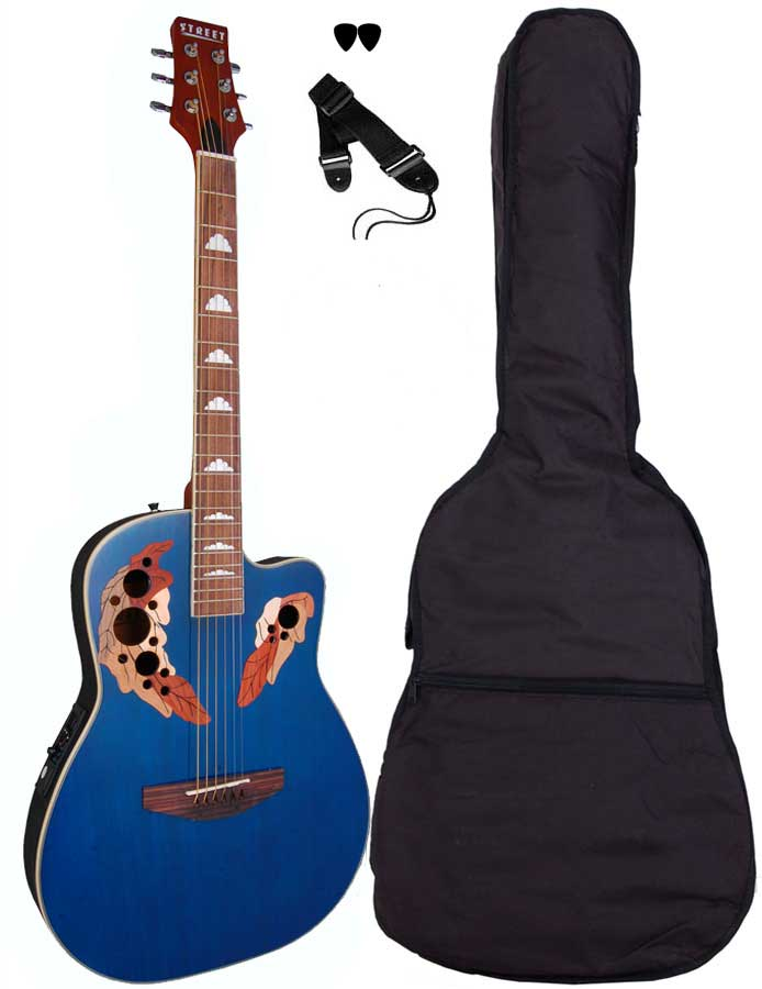 Street OVA-5-BL western-guitar blå