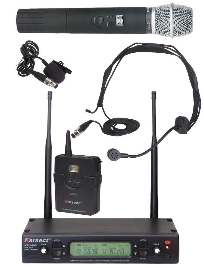 Billede af Karsect KRU-482KST7U-KLT7 trådløstdobbeltmikrofon-sæt