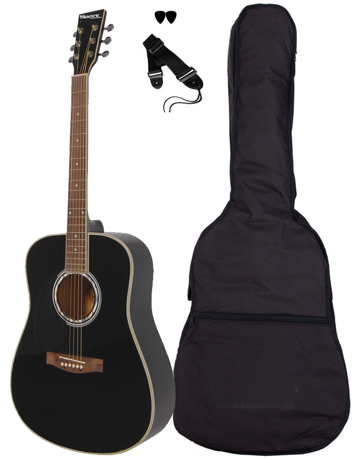Billede af SantGuitars AC-80L-BK venstrehånds-western-guitar sort