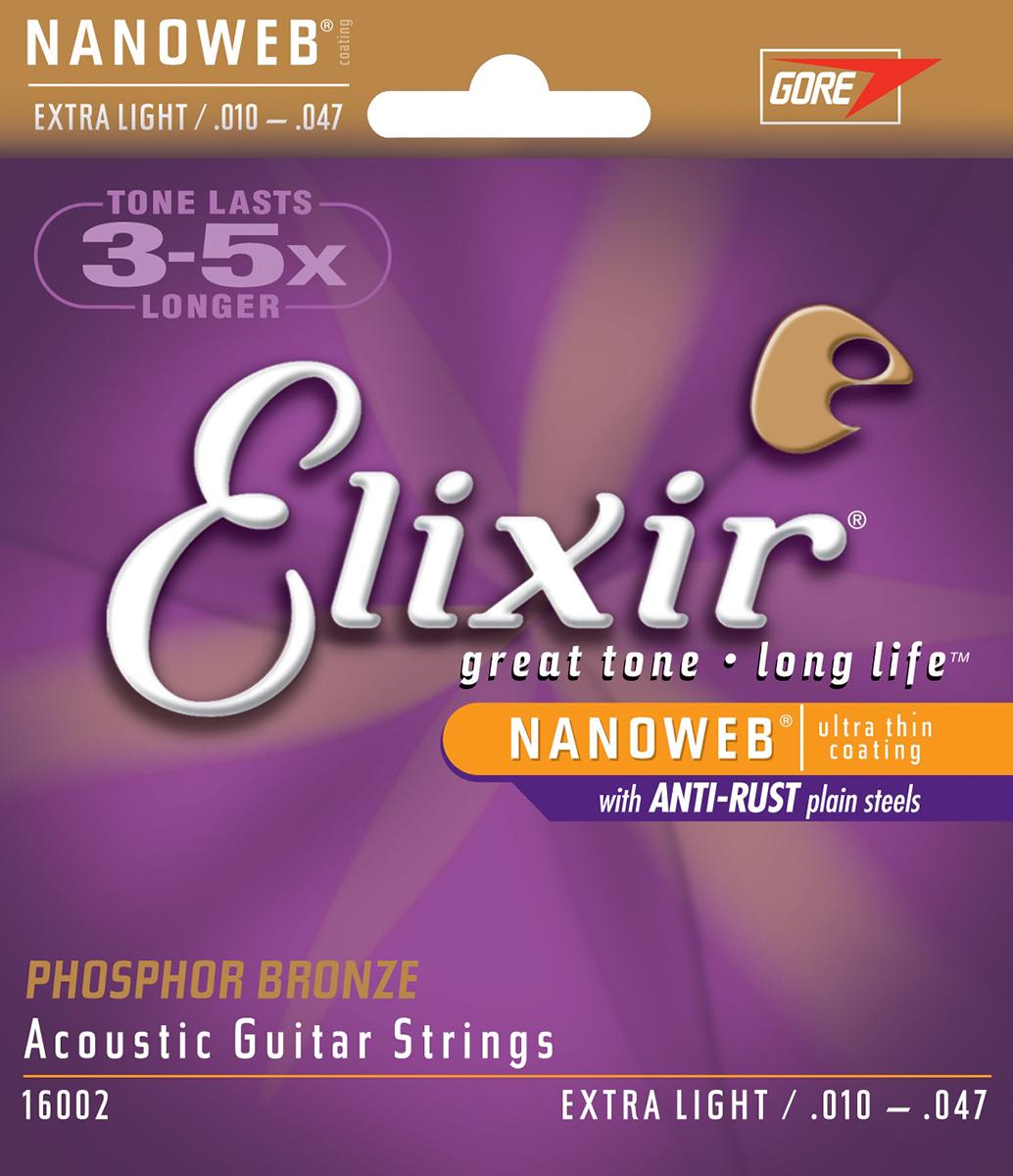 Image of   Elixir 16002NanoWebPhosphor western-guitar-strenge,extralight,010-047