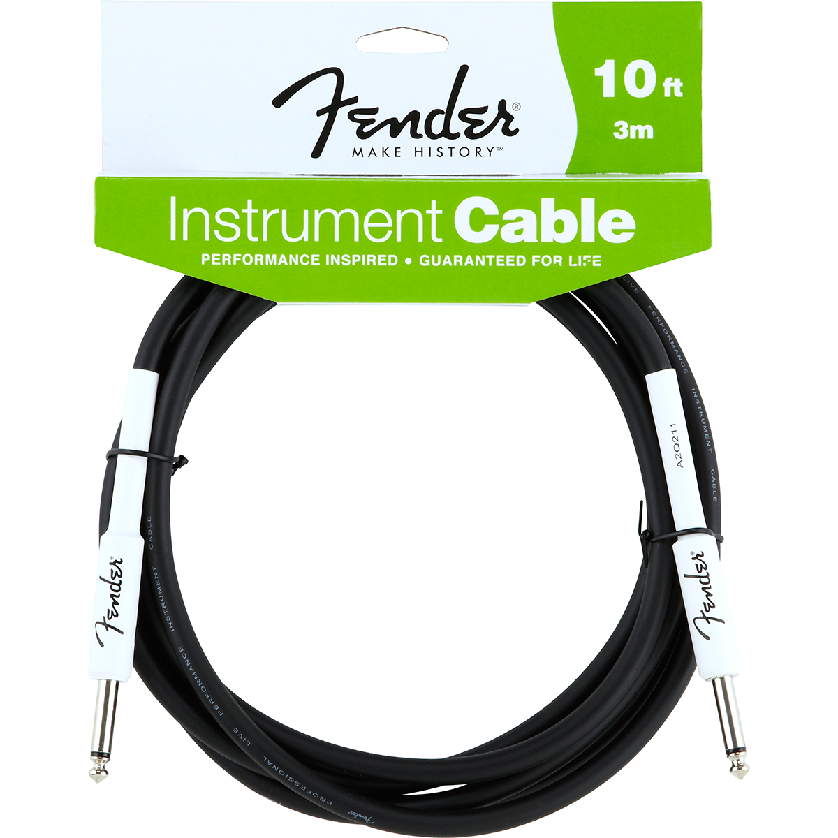 Fender Performance10ft jack-til-jack-kabel sort 3meter