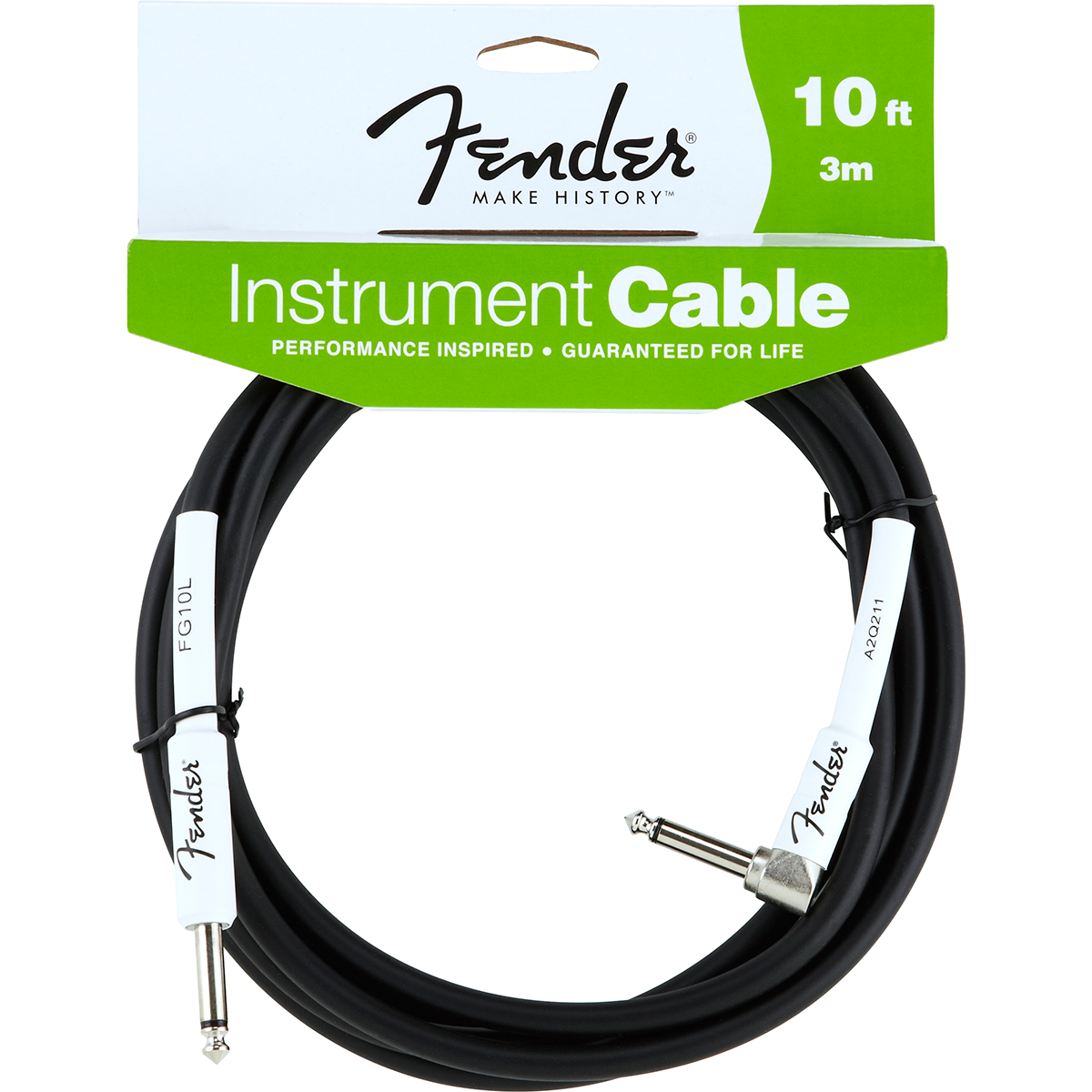 Fender Performance10ftangled jack-til-jack-kabel sort 3meter