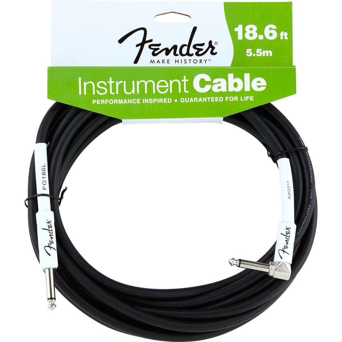 Fender Performance18.6ftangled jack-til-jack-kabel sort 5,5meter